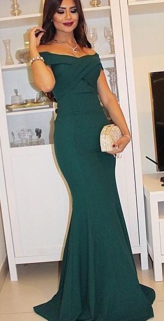 2016 Dark Green Mermaid Evening Gowns Off the Shoulder Short Sleeves Ruched Long Evening Dresses