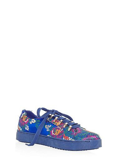 Lace Up Metal Trim Tennis Sneakers,BLUE FABRIC