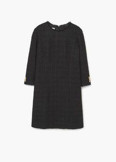 Rechte getextureerde jurk dress chanel look black
