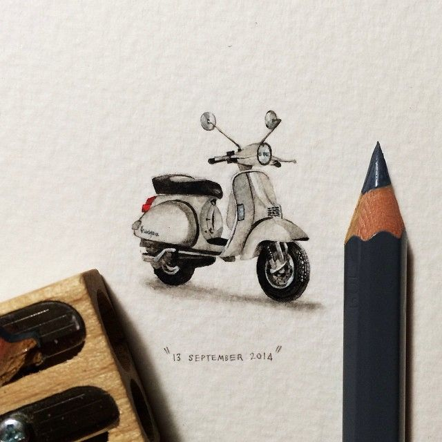 365 Postcards For Ants: Illustrator Creates One Mini Painting Per Day For A Year . Vespa