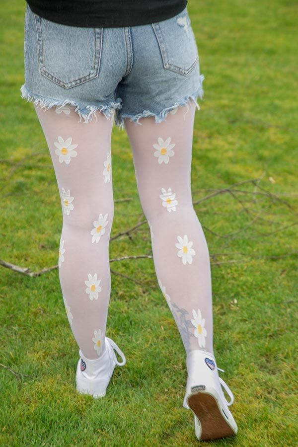 2ebe2aac9 Sheer Daisy Tights in 2019 | New Arrivals | Patterned tights, Shorts with  tights, Pantyhose outfits