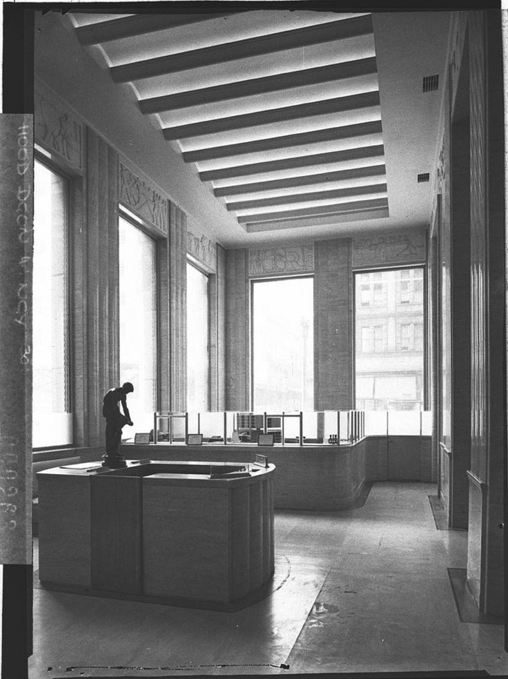 A view of the front office and reception, MLC Building, Sydney by Sam Hood. From the Mitchell Library, State Library of New South Wales :  http://www.acmssearch.sl.nsw.gov.au/search/itemDetailPaged.cgi?itemID=12030