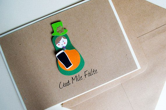 Céad Míle Fáilte (a hundred thousand welcomes) Irish  Greeting Card by Le Petit Hibou on Etsy, €4.50