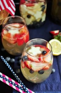 4th of July White Sangria on MyRecipeMagic.com Strawberries, pears and blueberries boasted by Moscato, tonic water, lemon juice and a gentle touch of gin makes the perfect white sangria for 4th of July!
