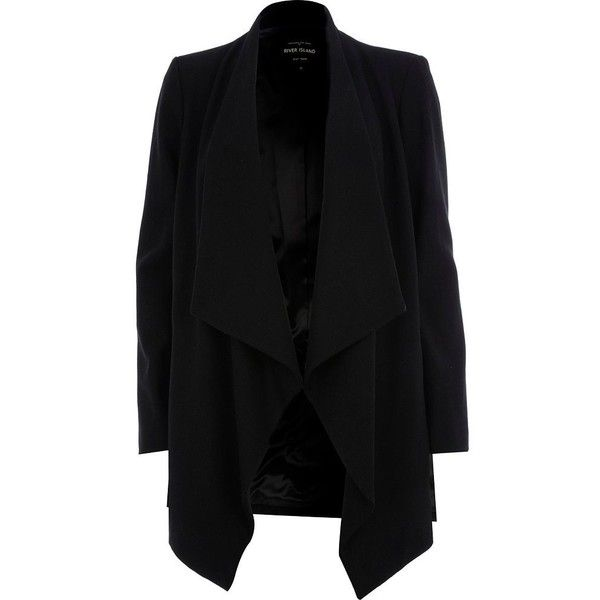 River Island Black waterfall coat (130 BRL) ❤ liked on Polyvore featuring outerwear, coats, jackets, cardigans, blazers, sale, blazer jacket, longline coat, open front blazer and waterfall blazer