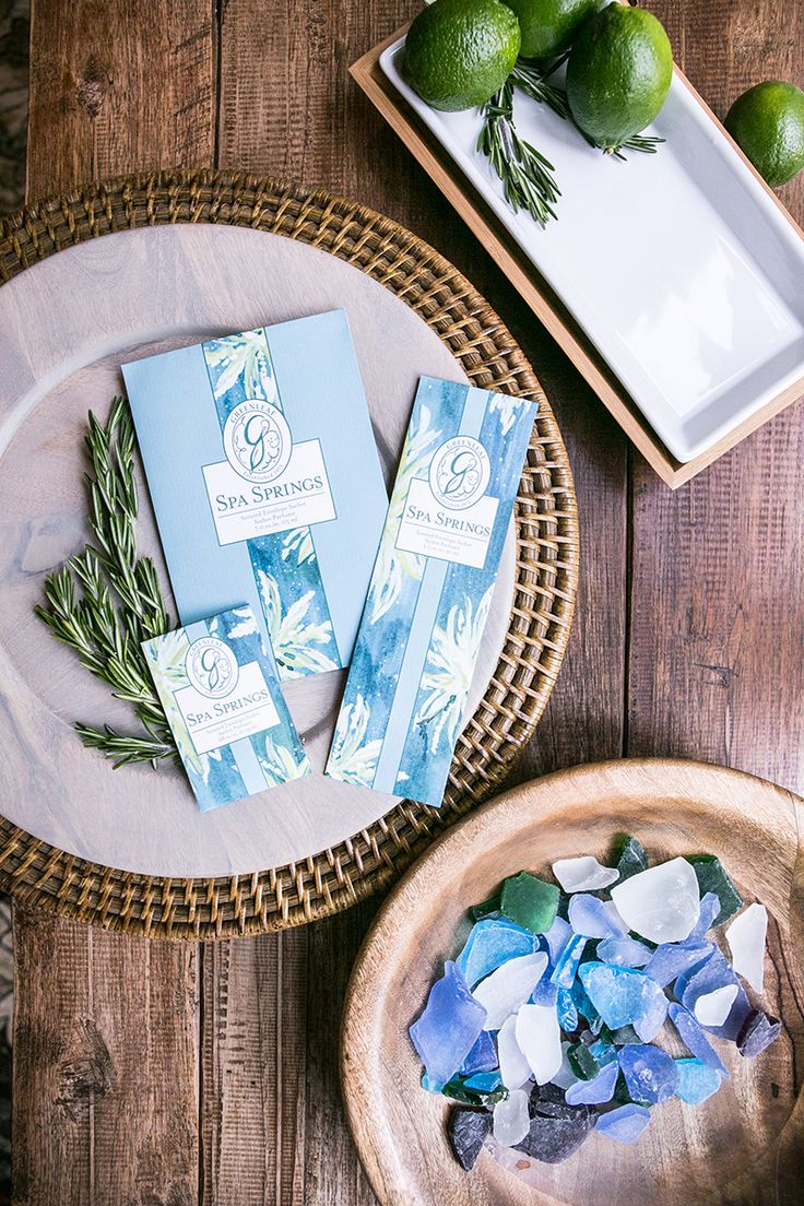 Greenleaf's Spa Springs fragrance: Aquatic notes are brightened with bergamot and green tangerine and balanced with musk and amber in a refreshing blend. Our sachets come in three sizes, for versatility wherever you want to use them!