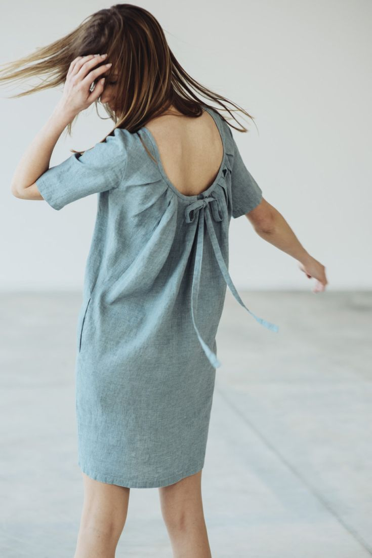 Natural Linen Dress With Pleated Back Motumo - 14S9 by MotumoLinen on Etsy