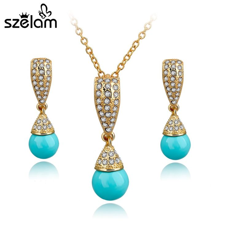 Szelam Simulated Pearl Jewelry Set For Women Gold Plated Jewellery Set 2017 Fashion Bridal Necklace Earrings Set SET140028