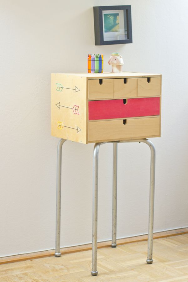 All you need is: – an IKEA mini drawer chest – the legs from a stool – 4 screws – the smallest drill bit you can find – a power drill