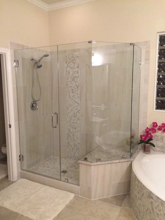 frameless shower glass completed by delta glass houston our customer is very happy with the new shower enclosure