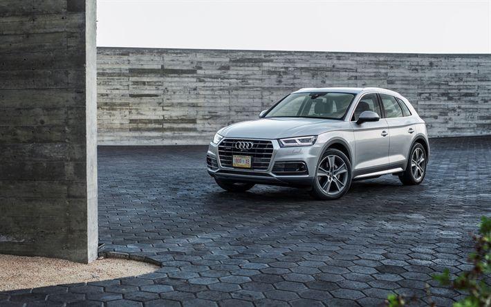 Télécharger fonds d'écran Audi Q5, En 2017, de l'Argent Q5, de croisement, de voitures allemandes, Audi