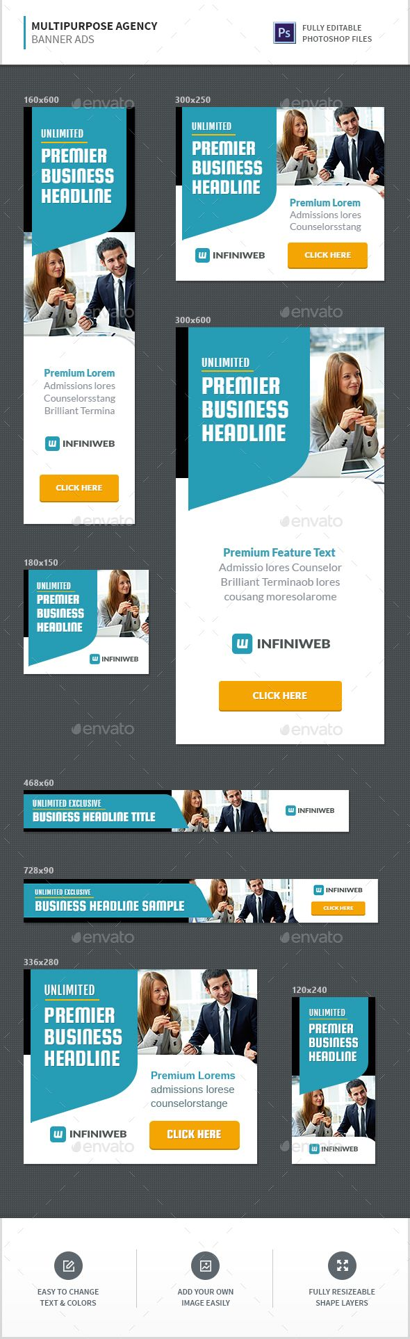Multipurpose Agency Banners Design Template – Banners & Ads Web Template PSD. Download here: graphicriver.net/…