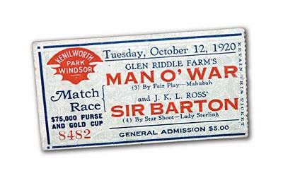 Man o' War - A ticket to the Match Race.