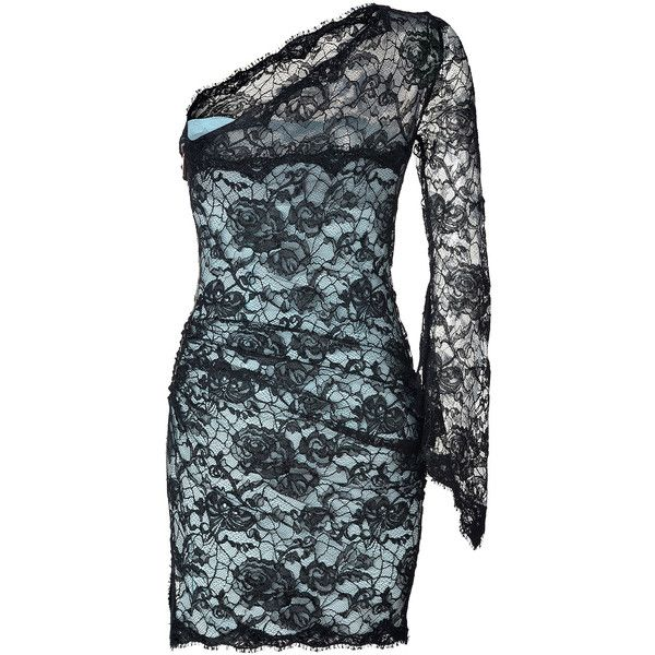 EMILIO PUCCI Black-Azure Lace-Overlay One Shoulder Dress ($2,770) ❤ liked on Polyvore featuring dresses, one shoulder long sleeve cocktail dress, emilio pucci dress, ruched one shoulder cocktail dress, one shoulder long sleeve dress and scalloped dress