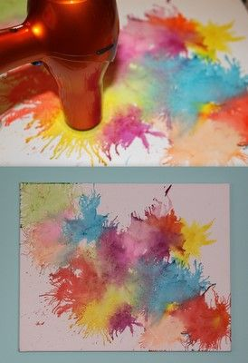 DIY Crayon Canvas- a different spin on the traditional crayon/canvas idea! Possibly a lot easier? less time spent aranging and hot-gluing all the crayons in place, and you can use old broken crayons, instead of pretty ones with wrappers still on.