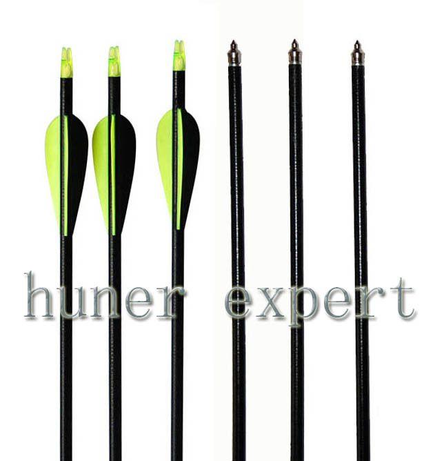 30 шт. охота с луком китай стекловолокна стрелка 32 дюймов w / fletched 2 зеленый 1 черная стрела перо 100 гр стрелка совет