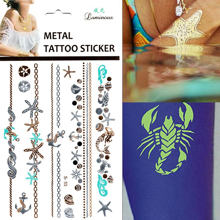 Cheap shell starfish, Buy Quality tatoo sleeve directly from China shell sleeve Suppliers:    Fashionable 1pcs/lot Gold Silver 3D Sun Tattoos Stickers Flush Tatoo Gold Small Hand Tattoo Designs Stickers On The B