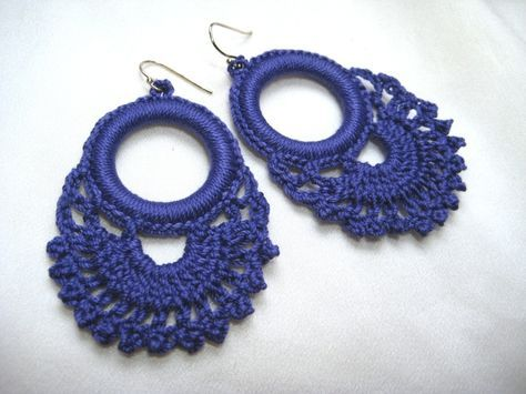 INSPIRATION - Persephone Lace Hoop Earrings - periwinkle
