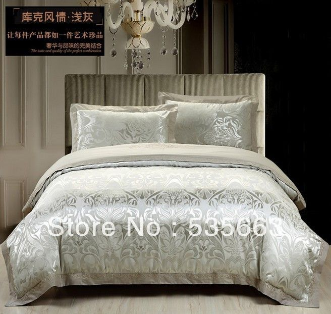 Free Shipping! Pure Cotton European Luxury Bedding Sets Queen King Size Satin  Bedding Sets Cream