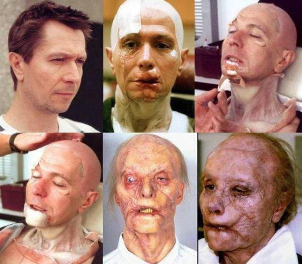 """Gary Oldman transforms into """"Mason Verger"""" makeup created by Greg Cannom and his team for Ridley Scott's """"Hannibal"""" (2001)."""