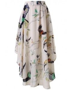 Chicwish Birds Print Asymmetric Waterfall Skirt