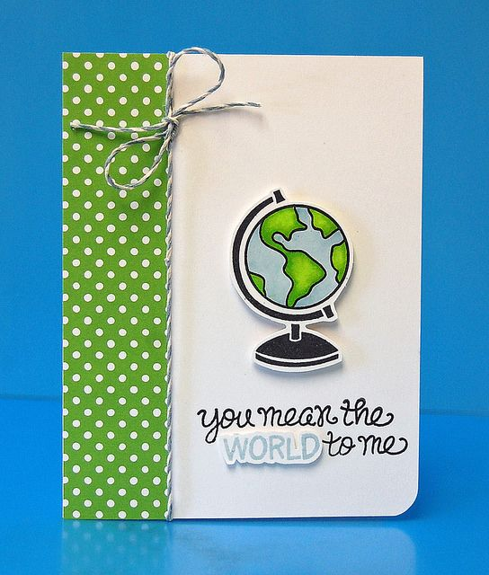 Lawn Fawn - Wish You Were Here, Let's Polka paper, Sky Lawn Trimmings cord _ card by Lynnette for Lawn Fawn Design Team