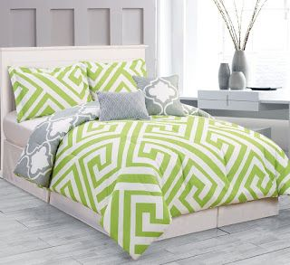 Affordable Lime Green and Grey Bedding for Way Less (yes, I'm cheap).