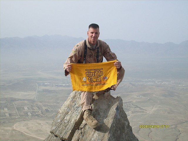 Terrible Towel on Mt. Gar, Afghanistan, and that is why it is Steeler Nation!