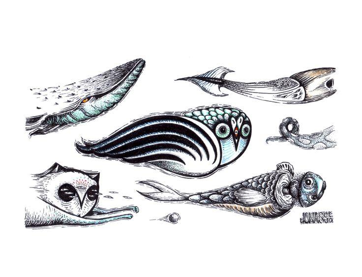 Ilustración con creaturas de Jonass Co. #creatures #ink #illustration