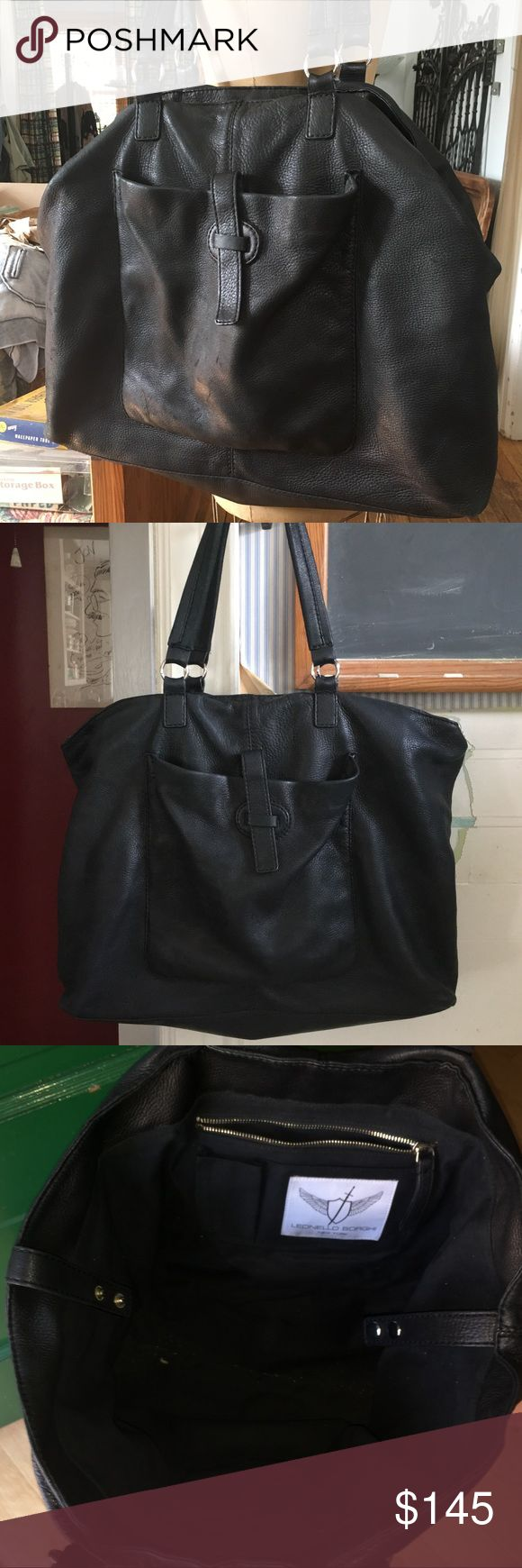 """HUGE SATCHEL LEONELLO BORGHI BLACK LEATHER BAG BIG 22"""" wide, 15"""" tall, 4 1/4"""" front to back. Thick softest pebbled matte leather. 11"""" handle drop,22 1/2"""" large long thick handles.Chrome silver rings .Outside pouch with strap closure.  Heavy silver zipper w leather pull. 2 side wall pockets. Gathered open wall pocket on other side.  Lined in clean heavy black canvas twill. Interior gusset safety straps w double snaps.  Leonello borghi New York  Fabric label.  Made in Italy. Some surface wear…"""
