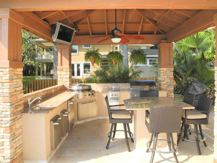 Custom built outdoor kitchen & pavilion with Evo Flattop grill. Designed and constructed by Creative Design Space, Fleming Island FL.