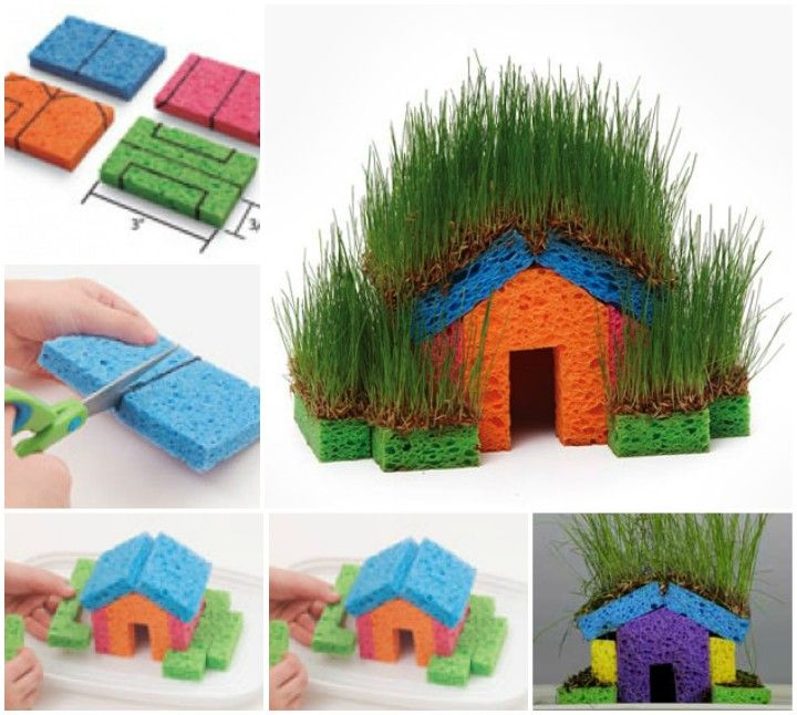Shares It would be super fun to make these little grass sponge houses for kids and all the family members as a whole! What you need is to make a house with kitchen sponges, pop in grass seeds on the top and watch it grow in your house!! It would be great to add some …