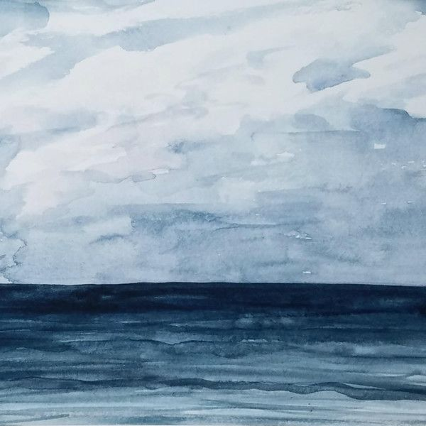 Blue Ocean Watercolor Print Navy Abstract Painting Water Sea Long