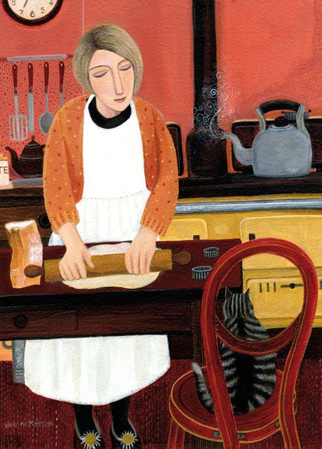'Making Pastry' by contemporary East Anglia artist Dee Nickerson (1957-).