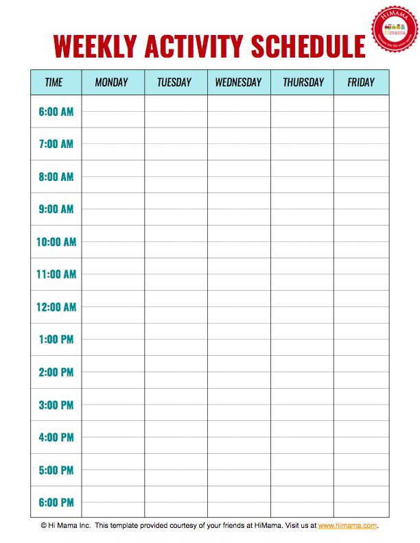 Daycare Weekly Schedule Template - 5 day