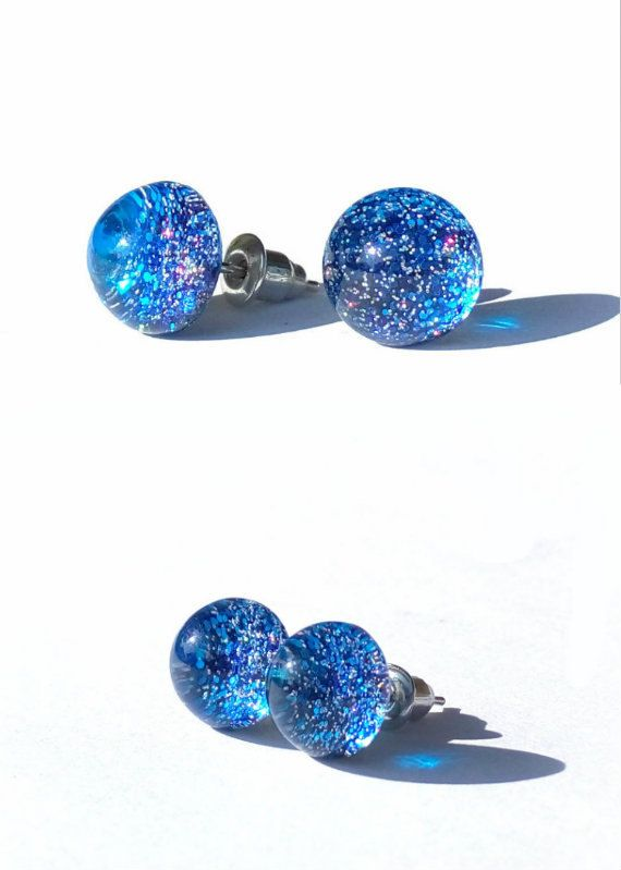 Galaxy stud earrings, post earrings, small stud, resin earrings, tiny stud, gift for her, blue, earring stud