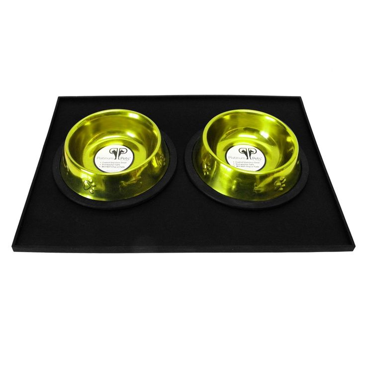 Platinum Pets 4 Cup Embossed Non-Tip Stainless Steel Dog Bowls with Black Feeding Mat Corona Lime
