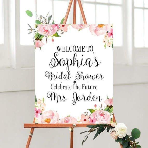 Printable Bridal Shower Sign, Custom Bridal Shower, Bridal Shower Decor,Floral Bridal sign, digital Download