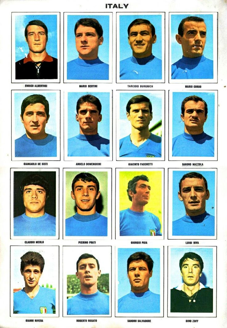Italy team stickers for the 1970 World Cup Finals.