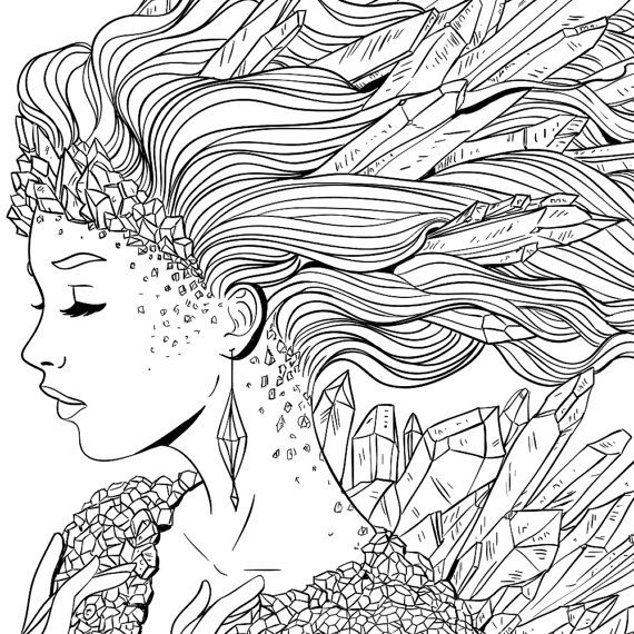 adult coloring page fantasy crystal line art - Fantasy Coloring Pages Adults