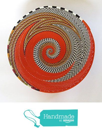 African Zulu woven telephone wire bowl - Medium shallow bowl - Orange with…