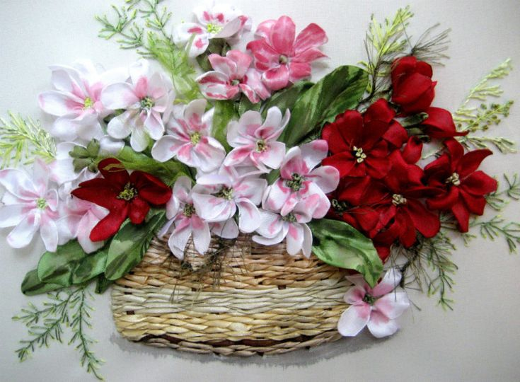 Ribbon Embroidery Flower Baskets : Best images about ribbonwork on