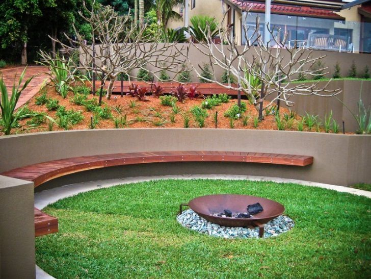 Outdoor   Metal Fire Pit With Fence Mount Bench Also Rounded Outdoo Patio  And Concrete Fence. 25 Of The Latest Fire Hole Inspirations For Your Yard U2013  Part 2