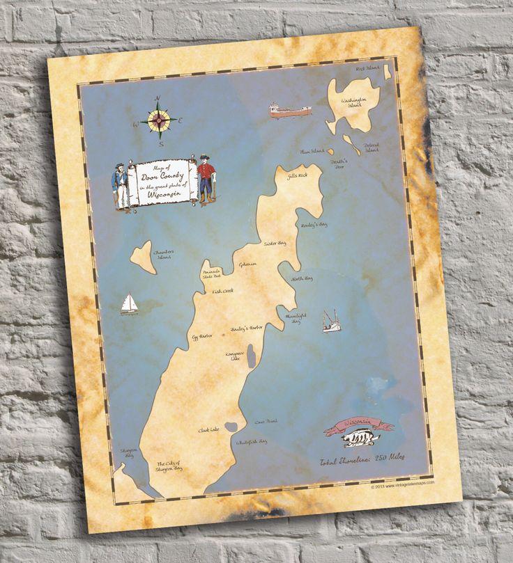 Door County Wisconsin Vintage Inspired Lake Map Print