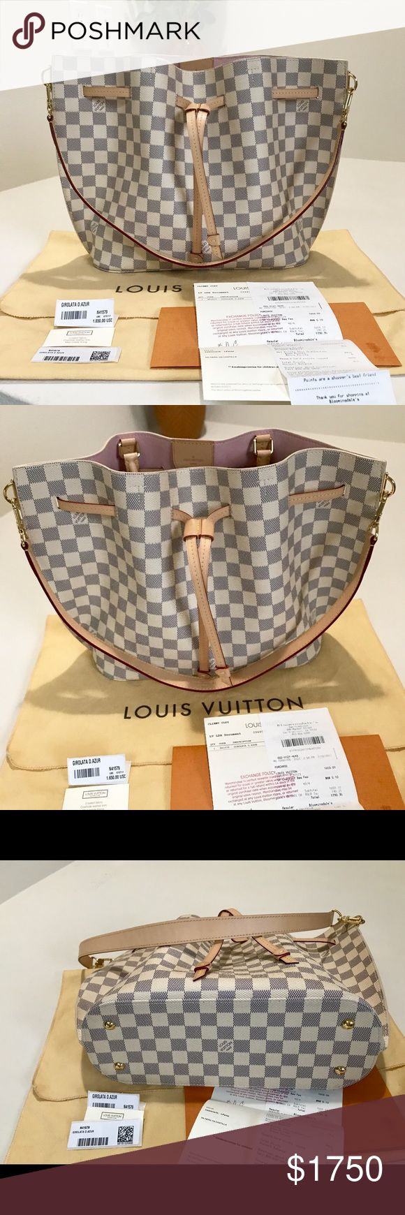 """Louis Vuitton Girolata Damier Azur coated canvas Louis Vuitton Girolata bag with brass hardware, tan vachetta leather trim, dual rolled top handles, pink Alcantara lining, dual pockets at interior wall; one with zip closure and drawstring closure at front.  Date code reads GI 0127.  Handle Drop: 5.5"""" Height: 10.75"""" Width: 17"""" Depth: 5"""" Includes dust bag, tags and receipt.  Paid close to $1800 w/tax. Price FIRM. Louis Vuitton Bags"""