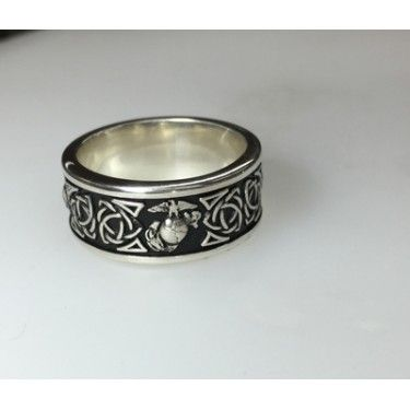 14K White Gold MARINE CORPS Wedding Rings with Triquetra Knot Model 2