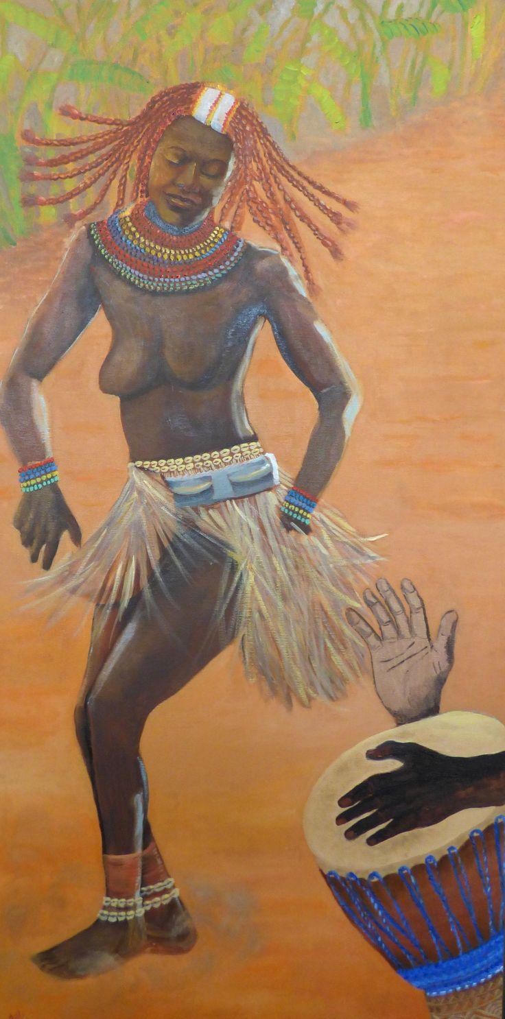 Dipinto su tela olio. Volevo fare danzare questa ragazza africana sulla tela e mostrare quanto il ritmo del djembe stimola tutto il suo corpo.. il ritmo fa parte della sua vita ...provate voi a lasciarvi andare sulla qualsiasi musica .