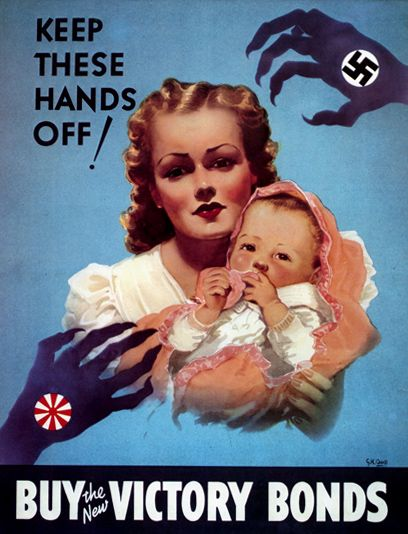 One of the many propaganda posters they use to persuade the people into buying victory bonds, ration their food, and enlist. This particular poster, they use fear, and innocence, a efficient technique, although a little unreasonable.