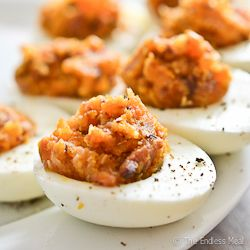 10 Easy #Thanksgiving Appetizers, starting with Bacon Deviled Eggs with Cheddar and Caramelized Onions, #Recipes