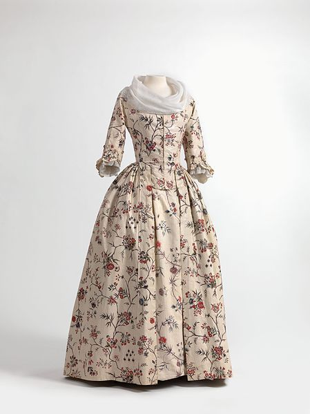 File:Dress (robe à l'anglaise) and skirts in chintz, ca. 1770-1790, shawl (fichu) in embroidered batiste, 1770-1800..jpg